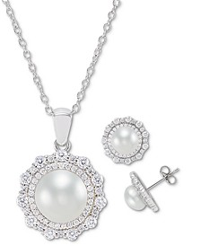 2-Pc. Set Cultured Freshwater Pearl (7mm & 9mm) Cubic Zirconia Pendant Necklace & Matching Stud Earrings in Sterling Silver
