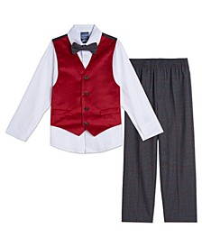 Baby Boy Red Velvet Vest Set