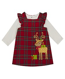 Little Girl Plaid Jumper With Ruffles At Arm And Reindeer Applique