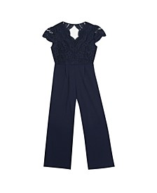 Big Girl Scuba Crepe Jumpsuit With Lace Bodice