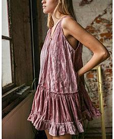 Free People Pleated Plush Swing Mini Dress