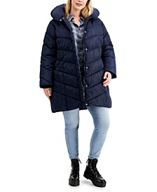 Trendy Plus Size Fleece-Lined Hooded Puffer Coat