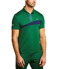 Men's SPORT Short Sleeve Colorblock Ultra Dry Zip-Neck Polo Shirt