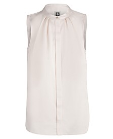Sleeveless Mandarin-Collar Blouse