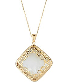 "Mother-of-Pearl Square Filigree 18"" Pendant Necklace in 14k Gold"