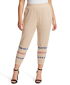 Jessica Simpson Trendy Plus Size Printed Pull-On Joggers