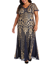 R & M Richards Plus Size Embellished Gown