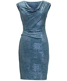 Petite Metallic Cowlneck Sheath Dress