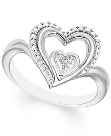 Diamond Accent Heart Ring in Sterling Silver