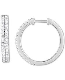 Diamond Princess Double Row Hoop Earrings (1 ct. t.w.) in 14k White Gold