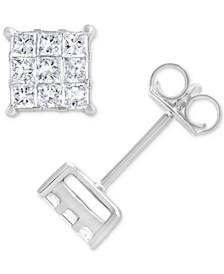 Diamond Princess Cluster Stud Earrings (3/8 ct. t.w.) in 14k White Gold