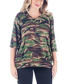 Women's Plus Size Oversized Pocket Hoodie Top