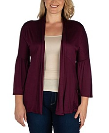 Women's Plus Size Flared Open Front Cardigan