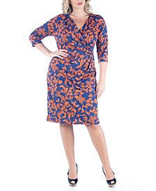 Women's Plus Size Floral Print Wrap Dress