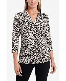 3/4 Sleeve Leopard Print Split V-Neck Top