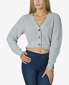Juniors' Cropped Destructed Cardigan
