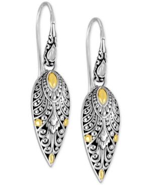 Angel Wing Filigree Drop Earrings in Sterling Silver & 18k Gold