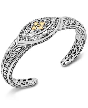 Flower Filigree Cuff Bracelet in Sterling Silver & 18k Gold
