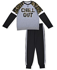 Big Boys Jersey Novelty Pajama Set, 2 Piece