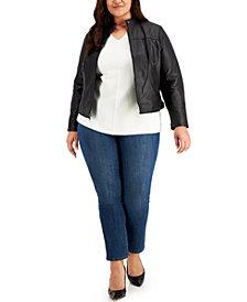 Lauren Ralph Lauren Plus Size Leather Moto Jacket
