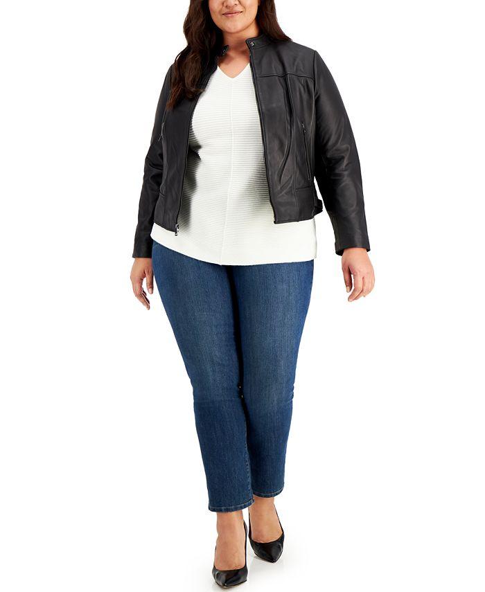 Lauren Ralph Lauren - Plus Size Leather Moto Jacket