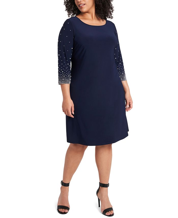 MSK - Plus Size Faraj Embellished-Sleeve Sheath Dress