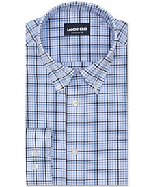 Lands' End Men's The Ultimate Commuter Classic/Regular-Fit Non-Iron Performance Tech Plaid Dress Shirt