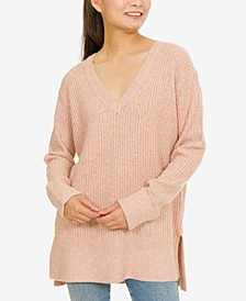 Hippie Rose Juniors' V-Neck Tunic Sweater