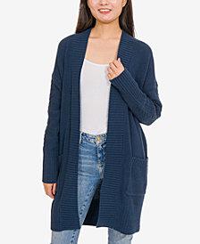 Hippie Rose Juniors' Textured-Knit Open-Front Cardigan