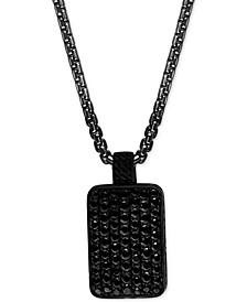 "EFFY® Men's Black Spinel Dog Tag 22"" Pendant Necklace in Black PVD over Sterling Silver"