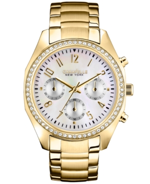 Caravelle New York by Bulova Women's Chronograph Gold-Tone Stainless Steel Bracelet Watch 36mm 44L114