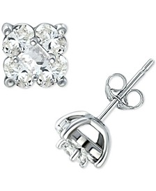 Cubic Zirconia Square Cluster Stud Earrings in Sterling Silver, Created for Macy's