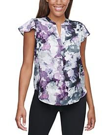 Printed V-Neck Flutter-Sleeve Top