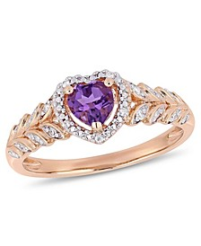 Amethyst and Diamond Halo Heart Ring