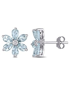 Aquamarine and Diamond Accent Floral Stud Earrings