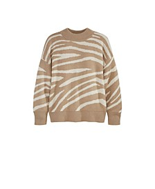 Women's Plus Size Zebra Drop Shoulder Sweater