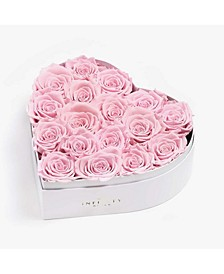 Heart Box of 17 Pink Real Roses Preserved to Last Over a Year