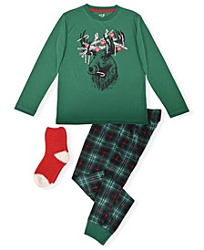 Big Boy's 2 Piece Moose Print Pajama Set with Socks