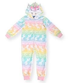 Toddler Girl's Unicorn Minky  Fleece Onesie and Novelty Fleece Hood