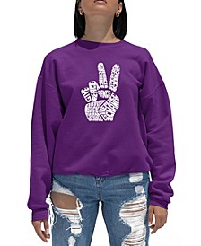 Women's Word Art Crewneck Peace Fingers Sweatshirt