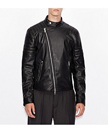 Faux Moto Leather Jacket with Quilted Deatiling