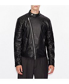 A|X Armani Exchange Faux Moto Leather Jacket with Quilted Deatiling