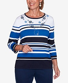 Women's Plus Size Vacation Mode Multi-Striped Sweater