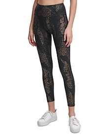 Foil-Print Side-Pocket 7/8 Leggings