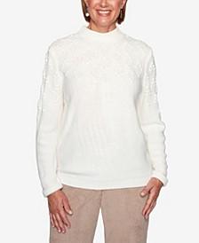 Women's Plus Size Dover Cliffs Pointelle Stitch Yoke Solid Sweater