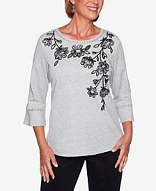 Women's Plus Size Knightsbridge Station Cascade Floral Bell Sleeve Top