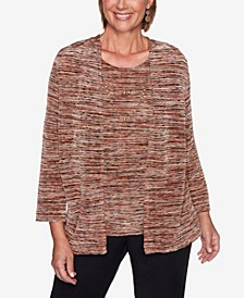 Women's Plus Size Catwalk Space Dye Two-For-One Top