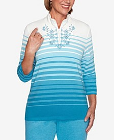 Women's Plus Size Long Weekend Ombre Striped Top