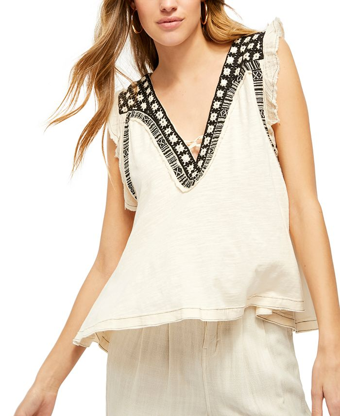 Free People - Embroidered Embellished Market Place Top