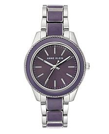 Purple Enamel and Silver-Tone Watch 37.5mm